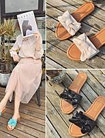 cheap -Women's Slippers & Flip-Flops Summer Flat Heel Open Toe Daily PU Black / Green / Beige