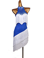cheap -Latin Dance Dress Tassel Split Joint Crystals / Rhinestones Women's Performance Sleeveless Mesh Spandex