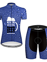 cheap -21Grams Women's Short Sleeve Cycling Jersey with Shorts Black / Blue Oktoberfest Beer Bike Breathable Sports Patterned Mountain Bike MTB Road Bike Cycling Clothing Apparel / Stretchy