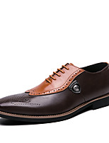 cheap -Men's Summer / Fall Classic / British Daily Office & Career Oxfords Faux Leather Non-slipping Wear Proof Black / Brown Color Block / Tassel / Square Toe