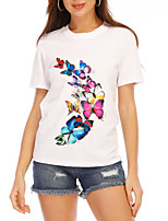 cheap -Women's T-shirt Graphic Tops - Print Round Neck Basic Daily Summer White S M L XL 2XL 3XL 4XL