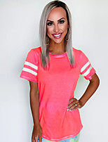 cheap -Women's T-shirt Solid Colored Round Neck Tops Basic Summer Blushing Pink Orange Green