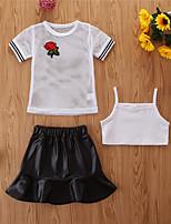 cheap -Kids Girls' Basic Casual Print Short Sleeve Regular Regular Clothing Set White