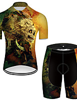 cheap -21Grams Men's Short Sleeve Cycling Jersey with Shorts Nylon Polyester Black / Yellow 3D Novelty Skull Bike Clothing Suit Breathable 3D Pad Quick Dry Ultraviolet Resistant Reflective Strips Sports 3D