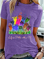 cheap -Women's T-shirt Cartoon Round Neck Tops Summer Purple