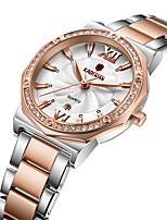 cheap -Women's Steel Band Watches Sparkle Fashion Stainless Steel Quartz Rose Gold Golden+White White Water Resistant / Waterproof Calendar / date / day Adorable Analog
