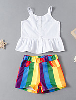 cheap -Kids Toddler Girls' Active Basic Vacation Festival White Solid Colored Peplum Sleeveless Regular Short Clothing Set White