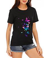 cheap -Women's T-shirt Graphic Prints Round Neck Tops Loose Cotton Basic Summer Black