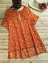 cheap -Women's Blouse Animal Cat Tops - Print Round Neck Loose Cotton Basic Daily White Orange Navy Blue M L XL 2XL 3XL 4XL 5XL