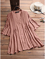 cheap -Women's Blouse Solid Colored Tops - Patchwork V Neck Loose Daily Summer Wine White Blushing Pink M L XL 2XL 3XL 4XL 5XL