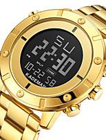 cheap -Men's Sport Watch Digital Modern Style Sporty Stainless Steel Water Resistant / Waterproof Calendar / date / day Alarm Clock Digital Analog - Digital Cool Big Face - Black Blue Gold
