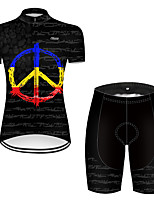 cheap -21Grams Women's Short Sleeve Cycling Jersey with Shorts Nylon Polyester Black Gradient Peace & Love Bike Clothing Suit Breathable 3D Pad Quick Dry Ultraviolet Resistant Reflective Strips Sports Solid