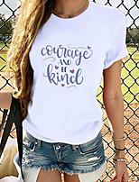 cheap -Women's T-shirt Graphic Tops - Print Round Neck Basic Daily Spring Summer White S M L XL 2XL 3XL
