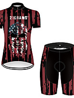 cheap -21Grams Women's Short Sleeve Cycling Jersey with Shorts Nylon Polyester Black / Red Skull American / USA National Flag Bike Clothing Suit Breathable 3D Pad Quick Dry Ultraviolet Resistant Reflective