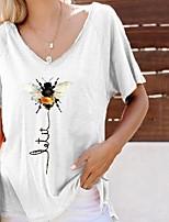 cheap -Women's T-shirt Animal V Neck Tops Summer White Blue Yellow