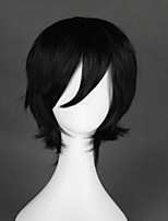 cheap -Cosplay Wig Okumura Rin Ao No Exorcist Curly Cosplay Halloween With Bangs Wig Short Black Synthetic Hair 12 inch Men's Simple Anime Cosplay Black