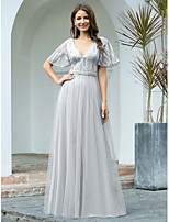 cheap -A-Line Elegant Sparkle Wedding Guest Formal Evening Dress V Neck Short Sleeve Floor Length Tulle with Sequin 2020