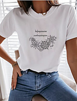 cheap -Women's T-shirt Graphic Prints Round Neck Tops Loose Cotton Basic Summer White