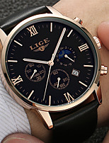 cheap -LIGE Men's Sport Watch Quartz Modern Style Stylish Leather Black Water Resistant / Waterproof Day Date Analog Casual Outdoor - Golden / Brown Black Black / White / Stainless Steel