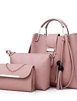 cheap -Women's Zipper PU Bag Set Bag Sets Solid Color Black / Red / Blushing Pink
