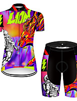 cheap -21Grams Women's Short Sleeve Cycling Jersey with Shorts Nylon Polyester Black / Red Dragon Funny Astronaut Bike Clothing Suit Breathable 3D Pad Quick Dry Ultraviolet Resistant Reflective Strips Sports