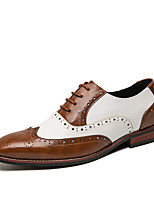cheap -Men's Summer / Fall Business / Classic Party & Evening Office & Career Oxfords Faux Leather Non-slipping Wear Proof Black / Brown Color Block
