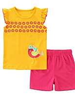 cheap -Kids Girls' Basic Cartoon Sleeveless Clothing Set Yellow