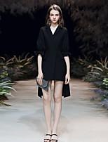 cheap -Sheath / Column Little Black Dress Minimalist Homecoming Cocktail Party Dress V Neck Half Sleeve Asymmetrical Spandex with Sleek 2020