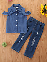 cheap -Kids Girls' Basic Casual / Daily Print Sleeveless Regular Regular Clothing Set Blue