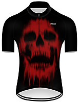 cheap -21Grams Men's Short Sleeve Cycling Jersey Nylon Polyester Black / Red Patchwork Skull Funny Bike Jersey Top Mountain Bike MTB Road Bike Cycling Breathable Quick Dry Ultraviolet Resistant Sports