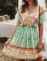 cheap -Women's A-Line Dress Knee Length Dress - Short Sleeves Print Summer Elegant Sexy 2020 Yellow Green S M L XL