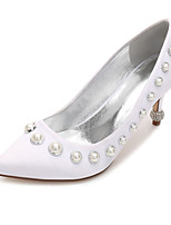 cheap -Women's Wedding Shoes Spring / Summer Stiletto Heel Pointed Toe Sweet British Wedding Rhinestone / Beading Solid Colored Satin White / Black / Purple