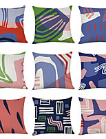 cheap -9 pcs Linen Pillow Cover, Geometric Geometic Casual Modern Square Traditional Classic