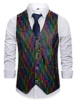 cheap -Disco 1980s Masquerade Vest Waistcoat Men's Sequin Costume Black Vintage Cosplay Event / Party Sleeveless