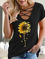 cheap -Women's T-shirt Geometric Tops V Neck Daily Summer Black Blue Red S M L XL 2XL