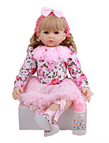 cheap -FeelWind 24 inch Reborn Doll Baby & Toddler Toy Reborn Toddler Doll Baby Girl Gift Cute Lovely Parent-Child Interaction Tipped and Sealed Nails 3/4 Silicone Limbs and Cotton Filled Body LV093 with