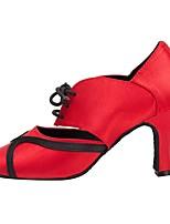cheap -Women's Latin Shoes PU Heel Cuban Heel Dance Shoes Red