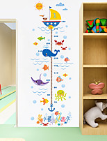 cheap -Cartoon Animals Crab Shark Whale Height Measure Wall Sticker For Kids Rooms Growth Chart Nursery Room Decor Wall Art 2pcs