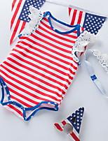 cheap -Baby Girls' Basic Striped Sleeveless Romper Red