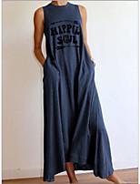 cheap -Women's Shift Dress Maxi long Dress - Sleeveless Letter Summer Casual 2020 Blue Gray M L XL