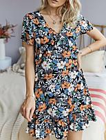 cheap -Women's A-Line Dress Short Mini Dress - Short Sleeves Floral Summer Work 2020 Black Red S M L XL