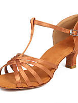 cheap -Women's Latin Shoes / Salsa Shoes Satin Buckle Heel Buckle Cuban Heel Customizable Dance Shoes Black / Brown / Beige