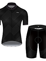 cheap -21Grams Men's Short Sleeve Cycling Jersey with Shorts Nylon Polyester Black Stripes Gradient Geometic Bike Clothing Suit Breathable 3D Pad Quick Dry Ultraviolet Resistant Reflective Strips Sports