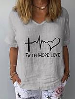 cheap -Women's T-shirt Letter Tops V Neck Daily Summer White Yellow Navy Blue S M L XL 2XL 3XL