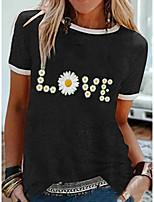 cheap -Women's T-shirt Floral Tops Round Neck Daily Summer Black Khaki Green S M L XL 2XL 3XL 4XL 5XL