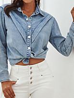 cheap -Women's Denim Shirt Solid Colored Shirt Collar Tops Loose Blue