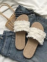 cheap -Women's Slippers & Flip-Flops Summer Flat Heel Open Toe Daily Synthetics Black / Champagne / Beige