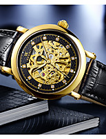 cheap -WEISIKAI Men's Mechanical Watch Automatic self-winding Modern Style Stylish Casual Water Resistant / Waterproof Genuine Leather Analog - Black / Silver Black+Gloden White+Golden / Stainless Steel