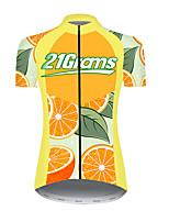Недорогие -21Grams Жен. С короткими рукавами Велокофты Нейлон Полиэстер Оранжевый Фрукты Лимонный Велоспорт Джерси Верхняя часть Горные велосипеды Шоссейные велосипеды / Слабоэластичная / Дышащий / Дышащий