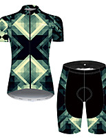 cheap -21Grams Women's Short Sleeve Cycling Jersey with Shorts Nylon Polyester Black / Green Plaid / Checkered 3D Gradient Bike Clothing Suit Breathable 3D Pad Quick Dry Ultraviolet Resistant Reflective